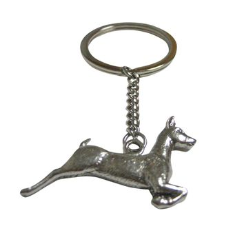 Silver Toned Textured Deer Pendant Keychain