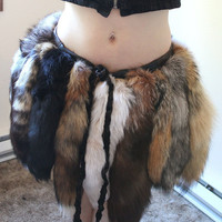 Skirt of Tails - eco-friendly wrap skirt made with real fox and coyote fur tails and scrap leather for costume and festivals Halloween OOAK