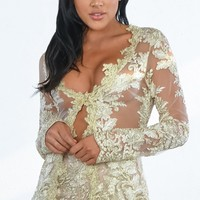 Indie XO Free From You Gold Sheer Mesh Lace Long Sleeve Plunge V Neck Outerwear Jacket and Shorts Two Piece Set Romper