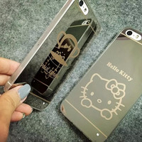 New Mirror Style Lovely Hello Kitty Monkey Ultra Slim Funda Capa TPU Phone Cases Cover For iPhone 5 5G 5S 6 6G 6S 6Plus 5.5 Inch