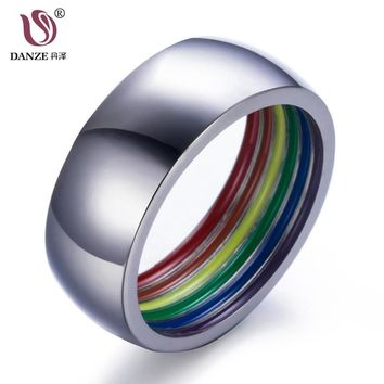 DANZE 8mm Inside Rainbow Engagement Ring Party Bagues 316L Stainless Steel Bands For Couple Lovers Men LGBT Gay Pride Jewelry