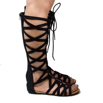 Ranger Knee High Open Toe Gladiator Cut Out Lace Up Flat Trendy Sandals