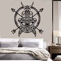 Vinyl Wall Decal Hand Of God Protective Amulet Hamsa Horn Arrows Stickers (2191ig)