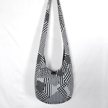 Hobo Bag, Crossbody Bag, Sling Bag, Hippie Purse, Boho Bag, Hobo Purse, Hippie Bag, Faux Patchwork, Black and White, Handmade Bag, Patchwork
