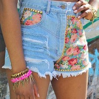 Floralmania Denim Shorts from Lavand Boutique