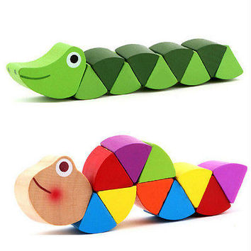 Wooden Crocodile Caterpillars Toys Baby Kids Educational Colours Gift HU