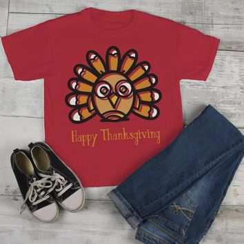Kids Funny Thanksgiving T Shirt Silly Turkey Happy Thanksgiving Cartoon Graphic Tee Boy's Girl's Toddler