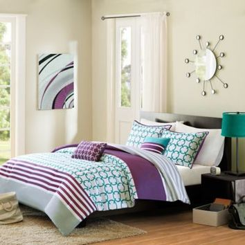 Halo Reversible Comforter Set in Teal