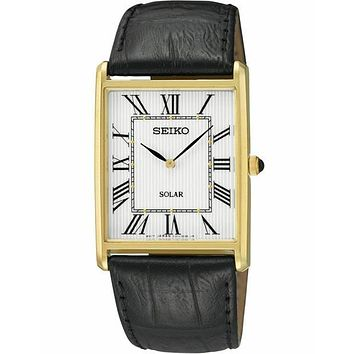 Seiko Solar Classic Mens Watch - Gold-Tone - Black Leather Strap