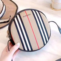 Free shipping-Burberry classic check graffiti round cake bag small round bag shoulder diagonal package