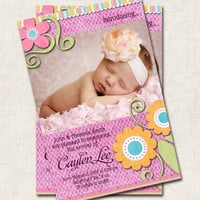 Girl Baby Birth Announcement/Thank You, baby shower, pink, green, orange, you-print (Digital File)