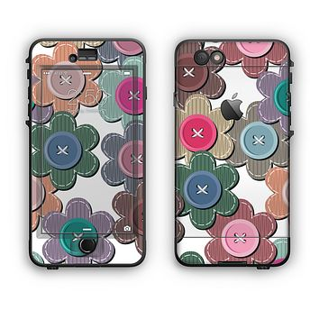 The Striped Vector Flower Buttons Apple iPhone 6 Plus LifeProof Nuud Case Skin Set