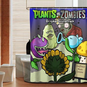 Retro Plants VS Zombies Latest Fashion Custom Shower Curtain 3D Waterproof Bath Curtain 12 Hooks For The Bathroom
