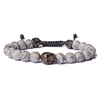 Matte Labradorite Double Skull Bead Bracelet for men