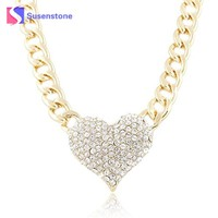 susenstone Ladies 3D Heart Pendant Necklaces &Pendants Women Adjustable Pendant Necklace Link Chain Necklace Statement Jewelry