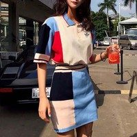 """Adidas"" Women Casual Fashion Multicolor Short Sleeve Lapel Shirt Tops Skirt Set Two-Piece"