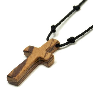Wooden Cross Pendants, Cross Necklace Men, Men's Wooden Cross Necklace, Wood Cross Necklace, African Zebrawood, Men's Necklace