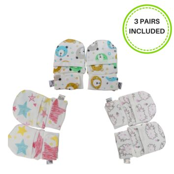 ANTI-SCRATCH SOFT STAY ON MITTS FOR NEWBORNS (0-4 MONTHS) GIRL