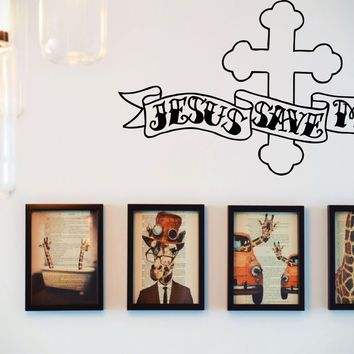 Cross with Ribbon : Jesus Save Me Vinyl Wall Decal - Removable (Indoor)