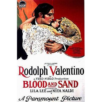 Rodolph Valentino Vintage movie Poster in Blood and Sand 1922 24X36 Rare Hot