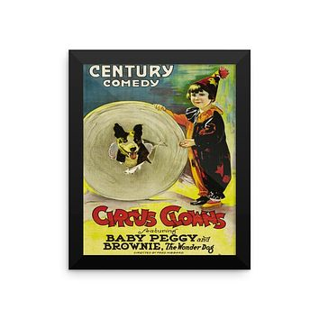 """Baby Peggy """"Circus Clowns""""  Vintage Movie Framed Poster"""