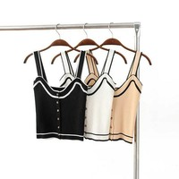 Metal Stretch Slim Knit Vest Crop Top Stripes Spaghetti Strap Bottoming Shirt [7086229057]