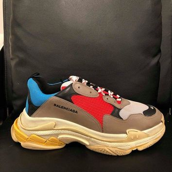 NIB Balenciaga Triple S Sneaker Grey Red Blue Speed Flat Trainers 46 Mens US 13