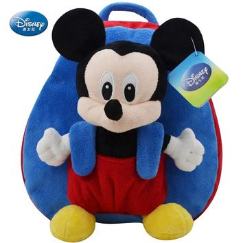 Genuine Disney Backpack 27cm Mickey Mouse Kawaii Plush Cotton Stuffed Doll Kindergarten Schoolbag Christmas Gifts Toys For Kids