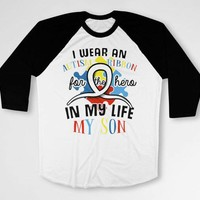 Autism Mom Autistic Support Dad T Shirt Awareness Ribbon Parent Gifts Advocate Spectrum Speaks Month For My Son Baseball Raglan Tee DN-682