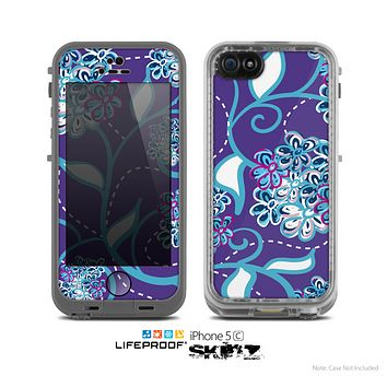 The Purple & Blue Vector Floral Design Skin for the Apple iPhone 5c LifeProof Case