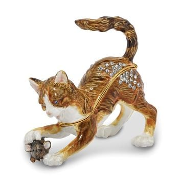 Bejeweled Playful Cat & Mouse Trinket Box with Charm Pendant