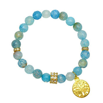 Blue Fire Agate Beads with Gold Plated Rondelle and Sand Dollar Charm - Gemstone Stretch Bracelet