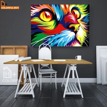 COLORFULBOY Cat Animals Wall Art Canvas Painting Oil Panting Posters And Prints Pop Art Graffiti Wall Pictures For Living Room