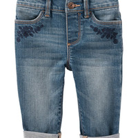 Pull-On Embroidered Girlfriend Fit Jeans - Gemma Wash