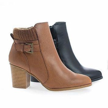 Bray01 By Wild Diva, Almond Toe Knitted Ankle Collar Stacked Block Heel Boots