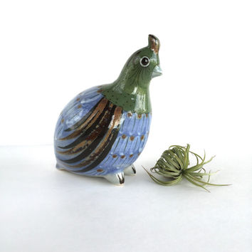 Vintage Mexican Pottery Quail, Vintage El Palomar Mexican Pottery Bird Figurine
