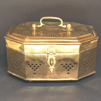 Vintage Quatrefoil Pierced Brass Canister / Brass Container with Top Handle and Front Latch