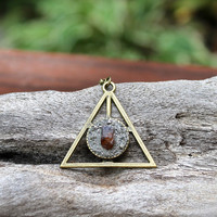 Pyrite & Garnet Necklace - Pyramid Jewelry -  Boho Chic - Triangle Necklace - Garnet Jewelry - Gypsy Boho Jewelry - Bohemian Necklace
