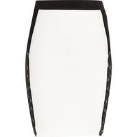 River Island Girls black jacquard color block tube skirt