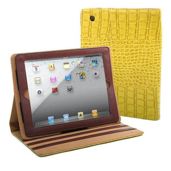 Fashion Matte Croco iPad 2 Compatible Case - Yellow