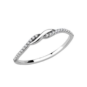 Inseparable - Women's Stainless Steel Criss Cross CZ Ring