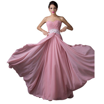 Grace Karin Classy Sweetheart Long Pink Bridesmaid Dress Chiffon Wedding Party Dresses CL6202 - BRIDESMAID DRESSES BRIDAL GOWNS PROM
