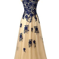 Sunvary Lace Mother Daughter Cocktail Prom Homecoming Dance Dresses Size 4 Champagne and Blue