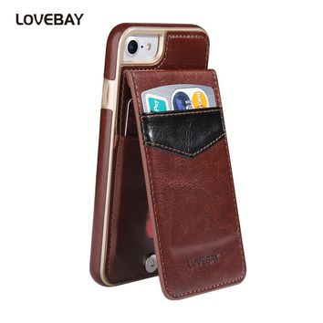 Lovebay For iPhone 7 Case Stand Card Slot Holder Phone Cases For iPhone 6 6s Plus