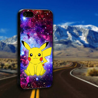 Cute Pikachu Pokemon Galaxy Nebula - ArtCover - Hard Print Case iPhone 4/4s, 5, 5s, 5c and Samsung S3, S4