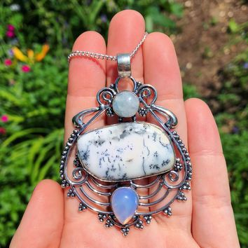 Dendritic Opal, Rainbow Moonstone & Opalite Necklace (925 Stamped)