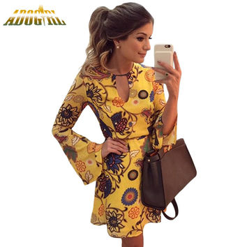 Adogirl Yellow Printed Bell Long Sleeve Skater Dress Women Sexy O-Neck Casual Party Dresses Ladies Vestido Mujer Manga Larga