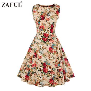ZAFUL 4XL Women summer vintage Dress Audrey Hepburn 1950 60S O neck Sleeveless Floral Print Patry Retro Dress Female Vestidos