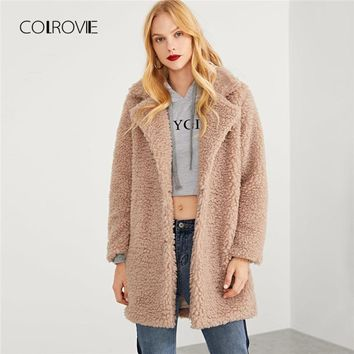 COLROVIE Pink Solid Long Faux Fur Teddy Coat Women 2018 Autumn Office Warm Winter Jacket Girl Elegant Female Lady Outwear