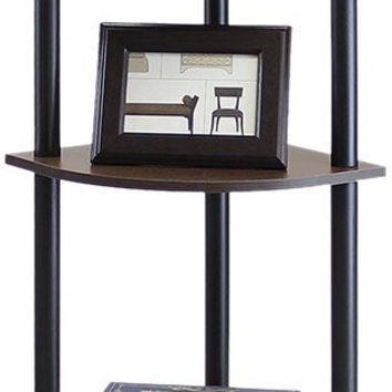 Furinno Turn-N-Tube 5 Tier Corner Display Rack Shelving Unit, Dark Brown
